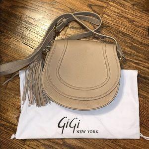 GiGi NY Jenni Saddle Bag - Stone Pebble Grain